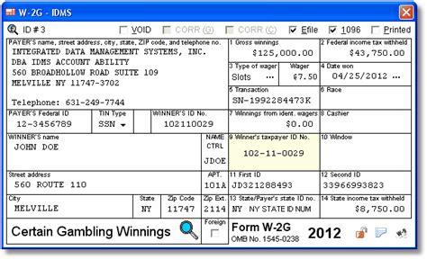 user interface  gambling winnings data