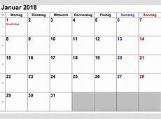 Kalender Januar 2018 zum Ausdrucken [PDF, Excel, Word