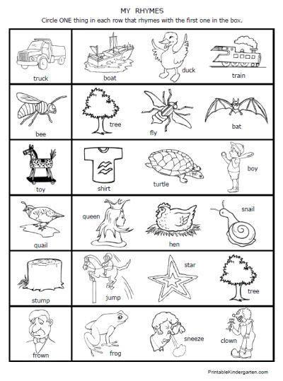 printable worksheets rhymes rhyming fun preschool kindergarten kids nathalie rhyming