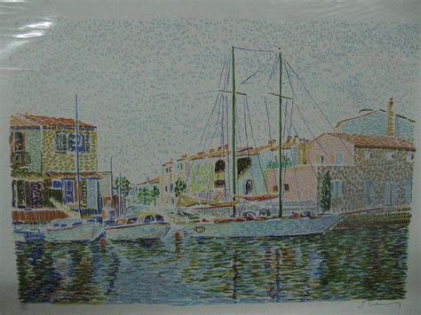 marine port grimaud lithographie originale sign 233 e num 233 rot 233 e gravures estes