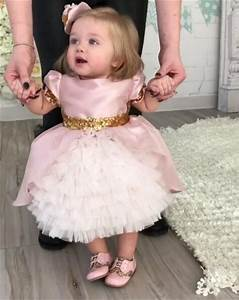 Pink cute baby girls birthday gown with sequined bow ...