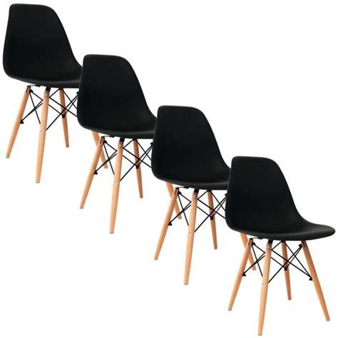 chaise noir et bois lot de 4 chaises design noir achat vente chaise