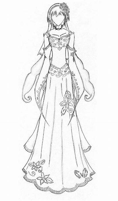 Deviantart Anime Coloring Pages Dresses Clothes Drawings