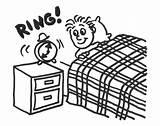 Waking Cartoon Boy Alarm Clock sketch template