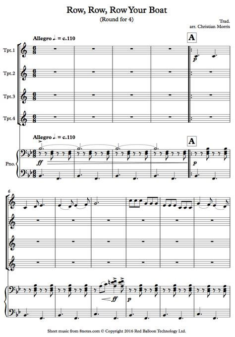 Row Your Boat Chords Piano by Row Row Row Your Boat Sheet For Trumpet Quartet
