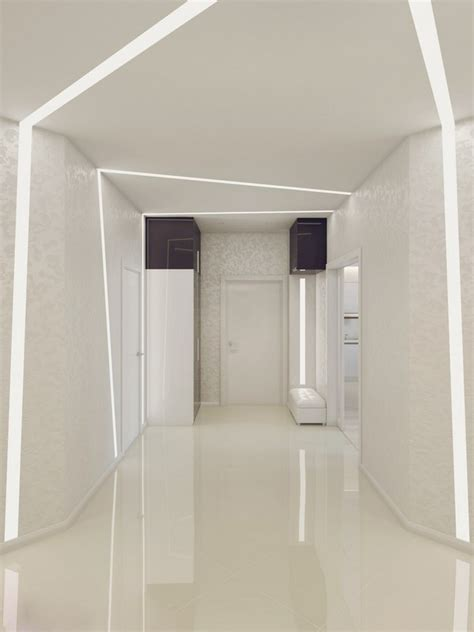 sparkling white apartment with hideaway home offices by