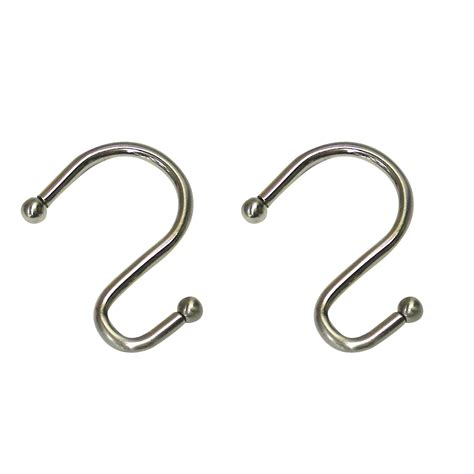 cannon metal s hook brushed nickel shower curtain hooks