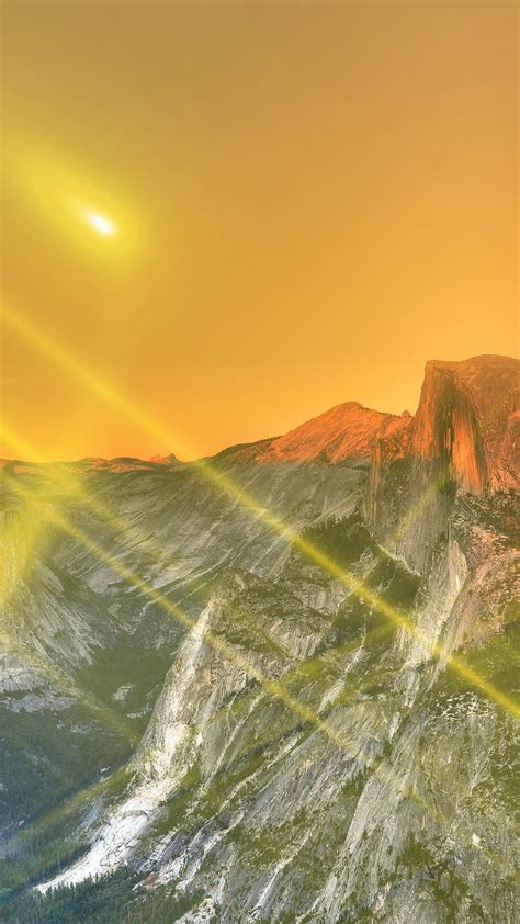 Checkout high quality nature wallpapers for android, pc & mac, laptop, smartphones, desktop and tablets with different resolutions. Yosemite Mountain Art Yellow Flare Sky Nature Android wallpaper - Android HD wallpapers
