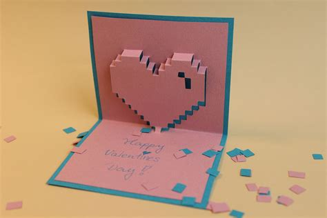 valentinstag pixelherz pop up karte