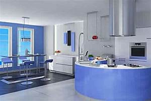 Furniture decoration ideas kitchen cabinets blue paint for Blue kitchen designs