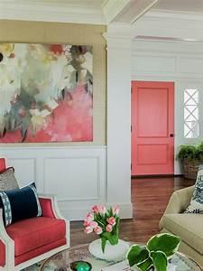 Peinture Murale Blanche : d co rose corail fauteuil rose porte rose table ronde en ~ Nature-et-papiers.com Idées de Décoration
