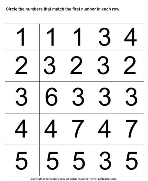 number matching worksheet 4 turtlediary 3 year old curriculum pinterest math math