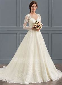 ball gown scoop neck court train tulle lace wedding dress With lace wedding dress with train