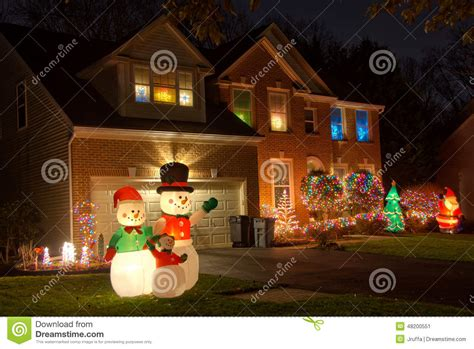 neighborhood christmas decorations stock photo image