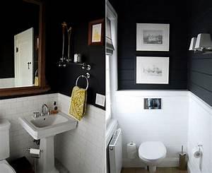 Wand Schwarz Streichen : schwarze w c ande als wand streichen idee f bcr kleine r aume coole wohnideen und farbgestaltung ~ Fotosdekora.club Haus und Dekorationen