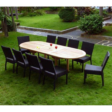 chaises de salon salon de jardin en teck brut et 8 chaises résine tressée