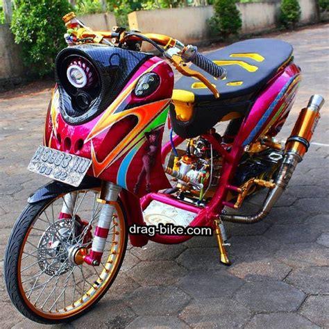 modifikasi motor fino thailook style simple classic velg aung myo thant drag bike
