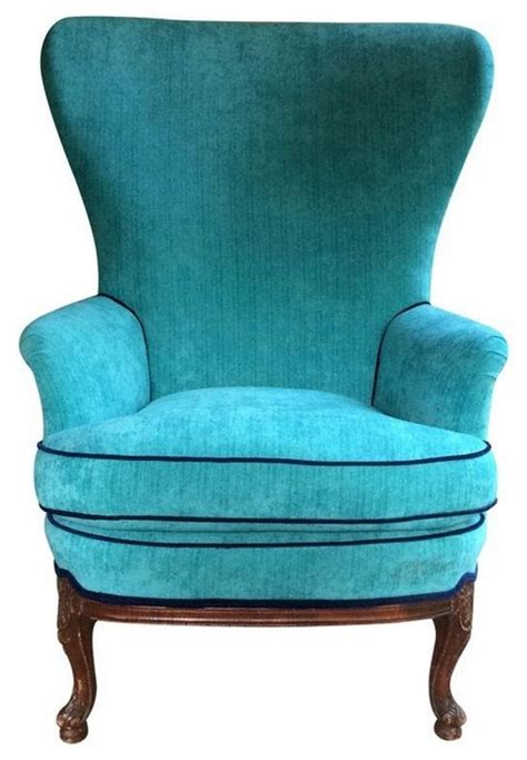 pre owned butterfly wingback in turquoise velvet