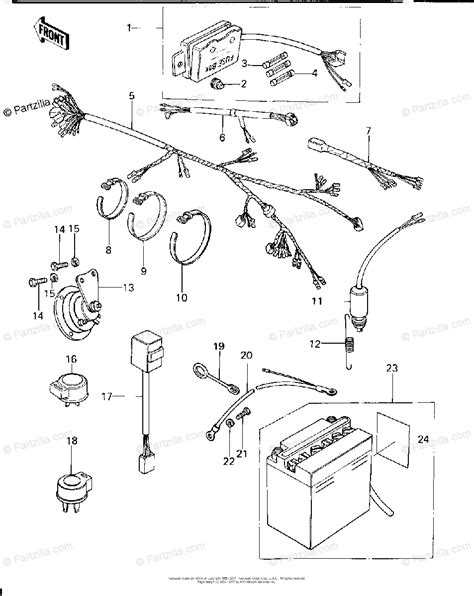 kawasaki motorcycle  oem parts diagram  chassis