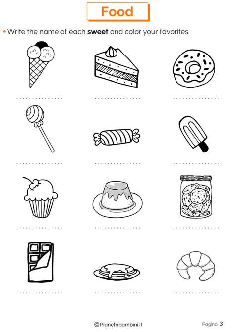 schede inglese prima elementare da stare cibo in inglese schede didattiche per la scuola primaria