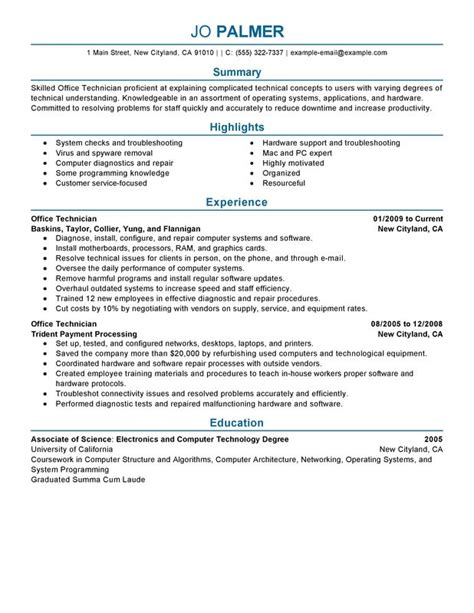 Computer Technician Resume Summary by Unforgettable Office Technician Resume Exles To Stand