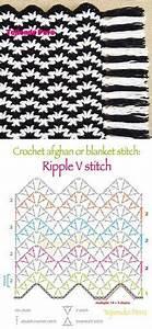 Crochet  Afghan Or Blanket Stitch  Ripple V Stitch Pattern Or Chart