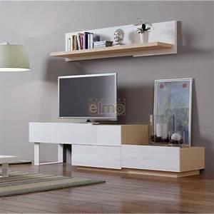 Meuble TV Design Contemporain Bois Laqu Blanc NATURAL