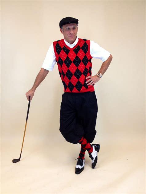 Menu0026#39;s Golf Knickers Outfit - BlackRedWhite Overstitch