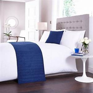 bed runner and matching cushion cover in navy blue With bed runners for sale online