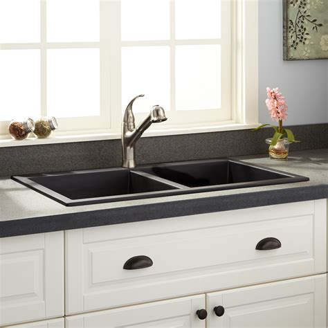 "34"" Townsend Double Bowl Drop In Granite Composite Sink"