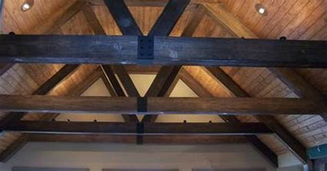 faux wood beam trusses  tongue groove ceiling great