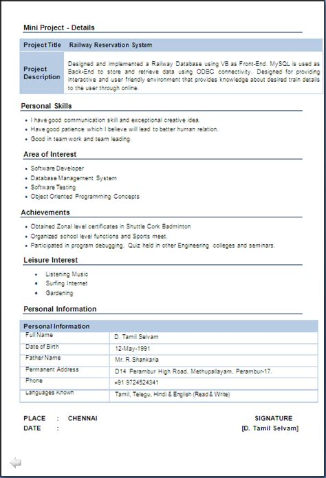 Sle Resume For Iti Fitter by Iti Fitter Resume Format