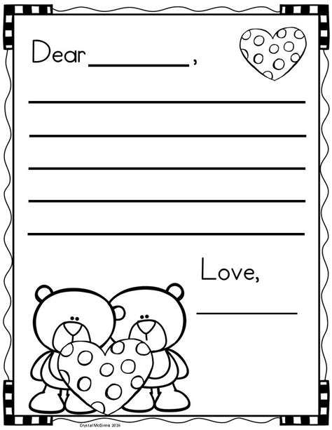 valentines day letter writing templates valentine