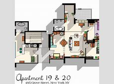 Friends TV Show Apartment Floor Plan from DrawHouse on Etsy