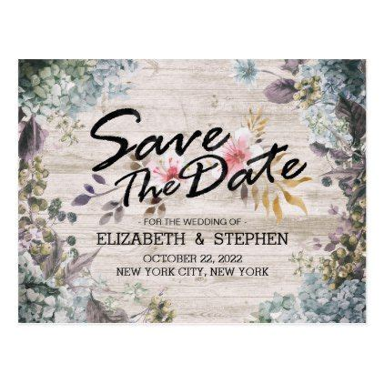 Wedding Save The Date Botanical Floral Rustic Wood