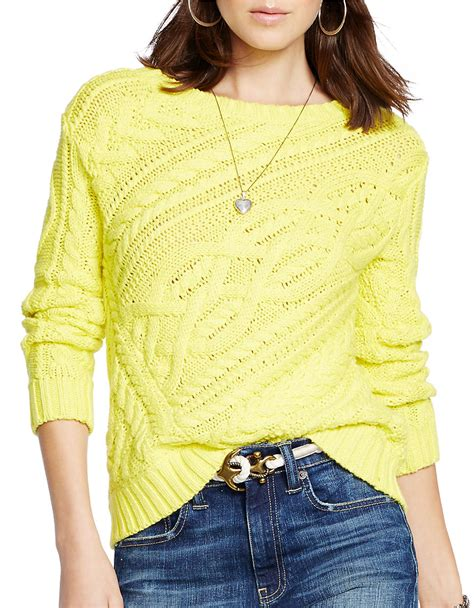 yellow cable knit sweater polo ralph cable knit cotton sweater in yellow lyst
