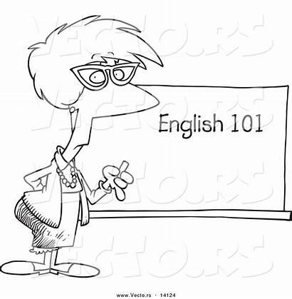 Outline English Coloring Teacher Cartoon Class Board