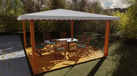 Gazebo 4 X 4 Gazebo In Legno 4x4 In Lamellare A 4 Acque Made In Italy