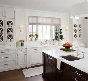 white kitchen cabinets with espresso island transitional With kitchen colors with white cabinets with bed bath and beyond wall art