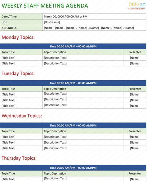 Weekly Meeting Calendar Template by Staff Meeting Agenda Template Write An Effective Agenda