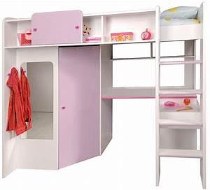 Lit Combiné Double : lit combin blanc et parme parmeline ~ Premium-room.com Idées de Décoration