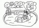 Coloring Pages Swimming Pool Summer Safety Printable Sheets Template Moose Popular sketch template