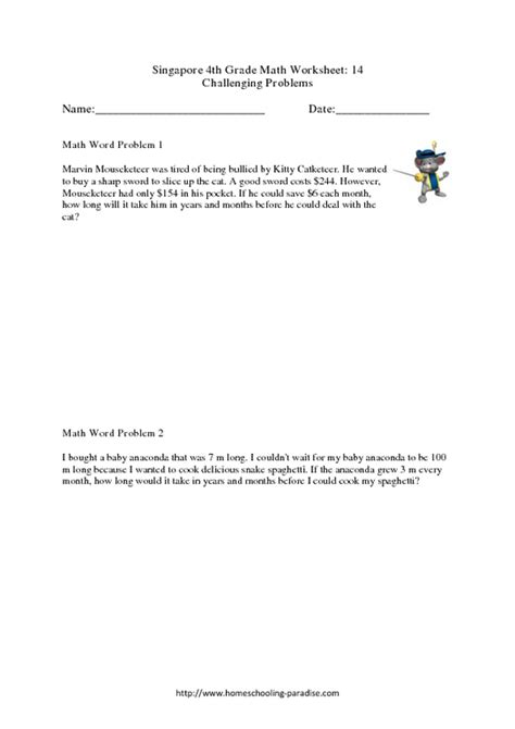 singapore 4th grade math challenging word problems worksheet for 4th grade lesson planet