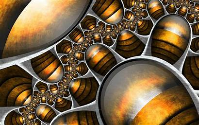 Abstract Silver Gold Fractal Digital Background Wall