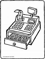 Money Cash Register Colouring Drawing Kiddicolour Pages 01v sketch template