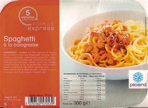 picard plats cuisin駸 spaghetti à la bolognaise surgelés picard 300 g