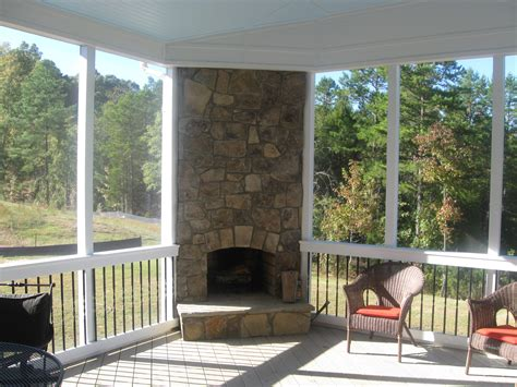 Covered Screened Porch with Fireplace Ideas