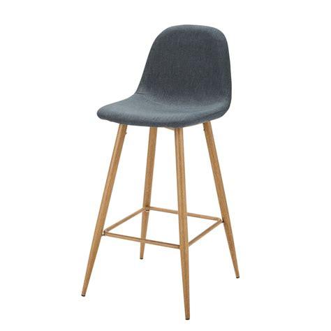 chaise de bar en tissu bleu jean clyde maisons du monde