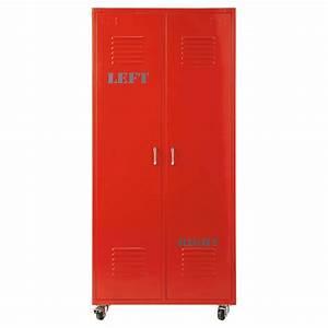 Kleiderschrank Industrial Design : kleiderschrank im industrial stil aus metall b 85 cm rot red red maisons du monde ~ Markanthonyermac.com Haus und Dekorationen