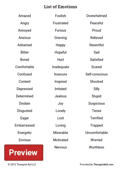list  emotions worksheet therapist aid